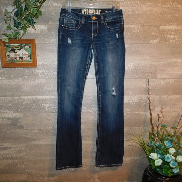 Hydraulic Bailey Slim Boot Cut Jeans Distressed 8